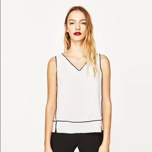 NWT Zara White VNeck Top with Contrast Piping Trim